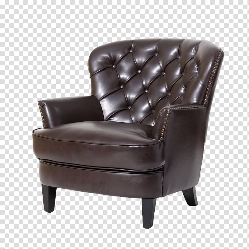 Tufted leather padded tub. Couch clipart brown couch