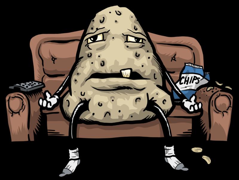Lazy clipart couch tv. Potato png hd transparent