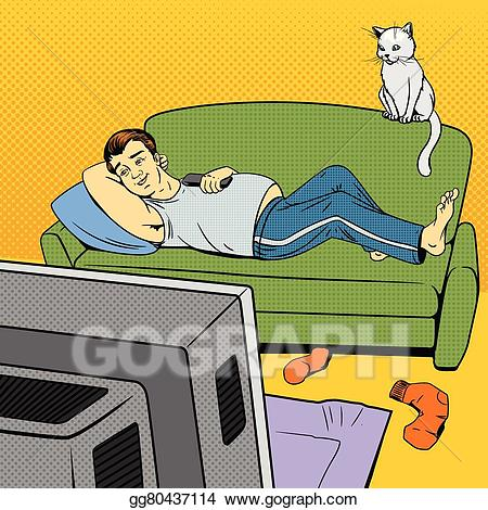 Vector stock man lying. Couch clipart comic