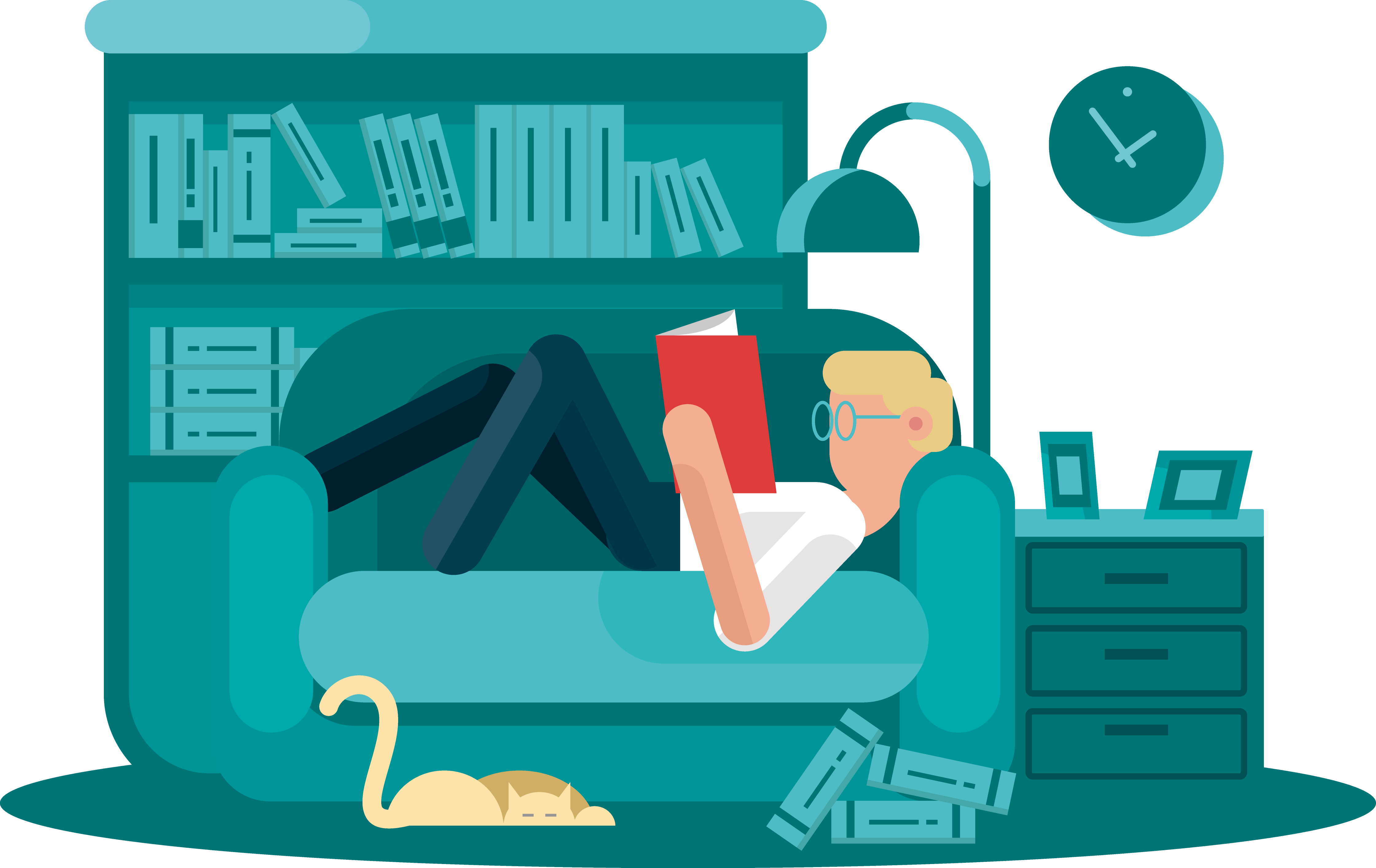 Couch clipart comic. Reading book cartoon illustration