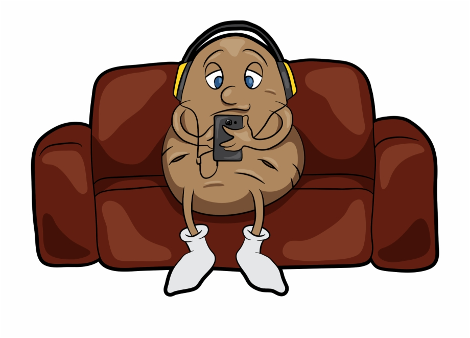 Lazy potato cartoon png. Couch clipart couch tv