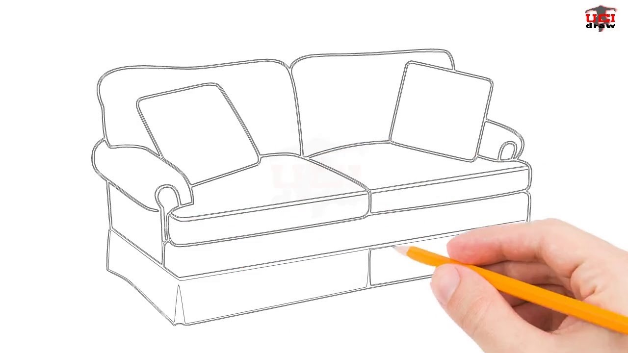 How to draw a. Couch clipart easy