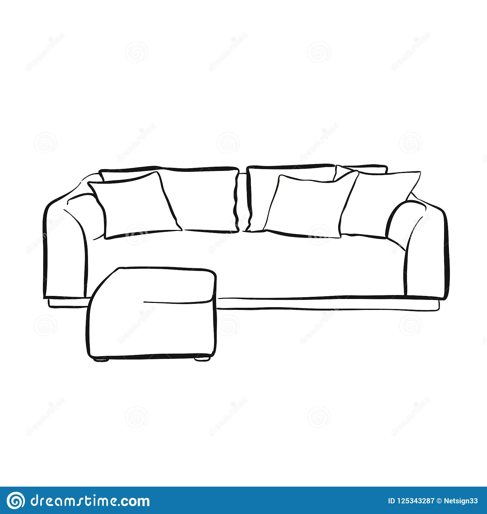 Couch clipart easy. Drawing tanamen