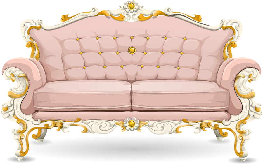 Table cartoon couch transparent. Furniture clipart fancy sofa