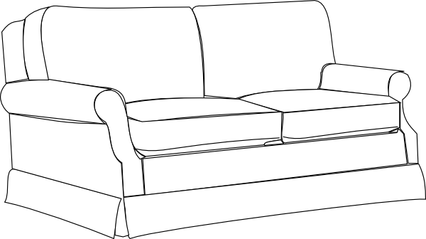 Couch clipart free vector. Sofa bw clip art