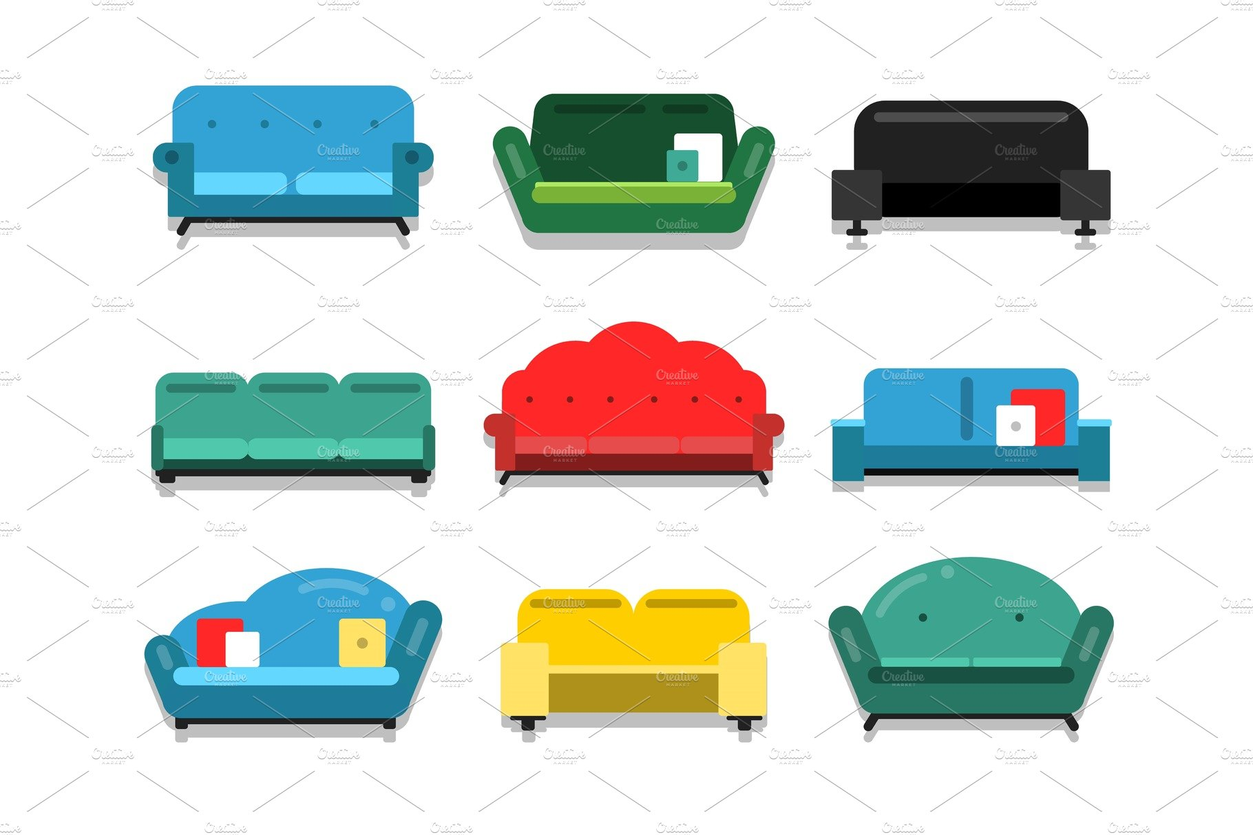 Couch clipart home furniture. Couches and sofa flat