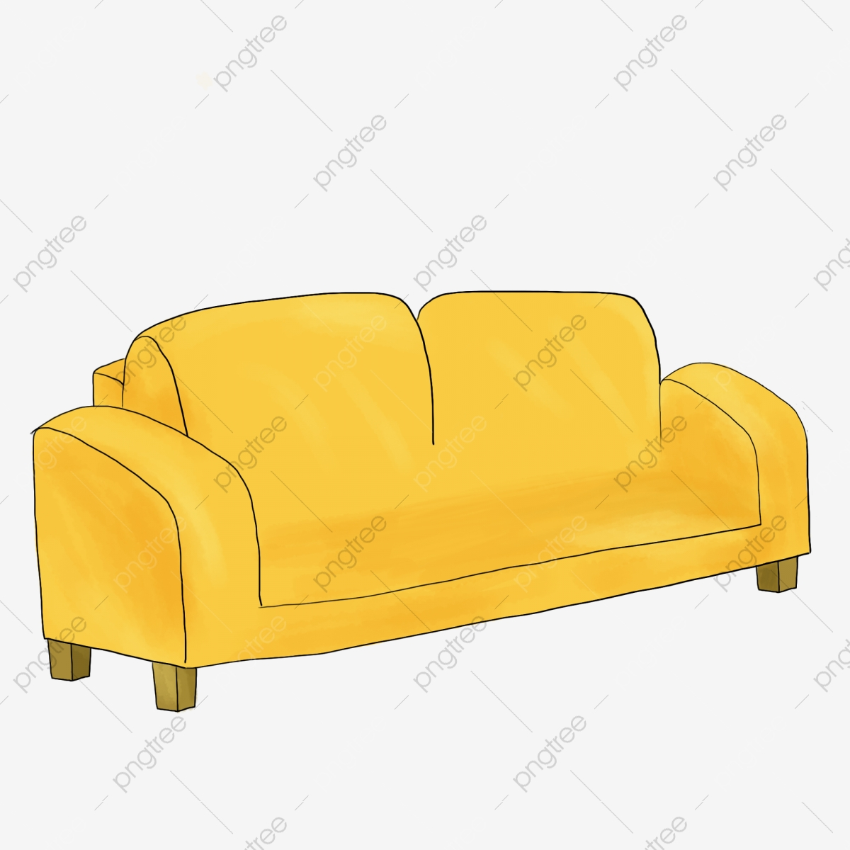 Sofa fabric yellow . Couch clipart home furniture