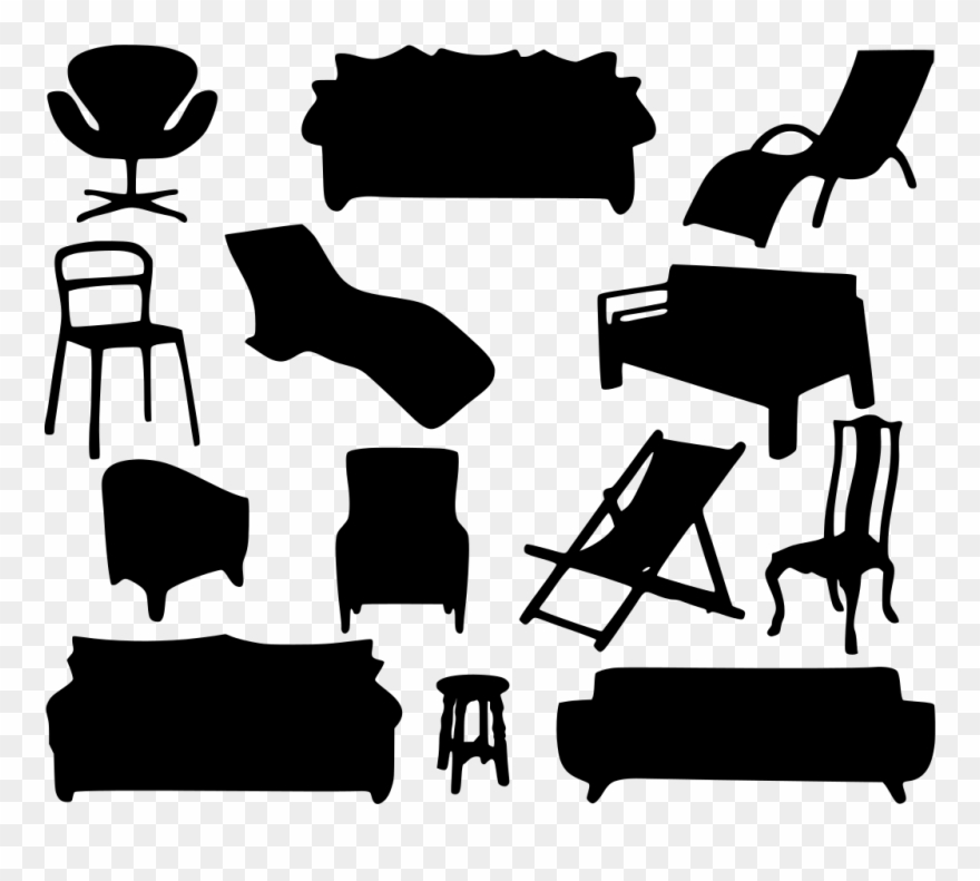 Sofa black and white. Couch clipart home furniture