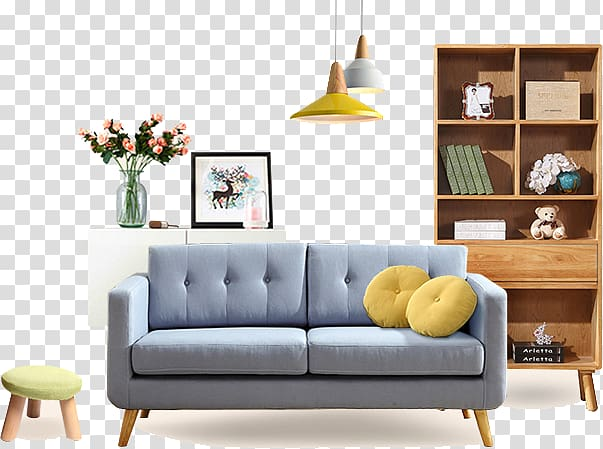 Couch clipart home furniture. Blue seat sofa in