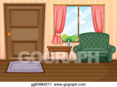 Vector furnitures inside the. Couch clipart house interior