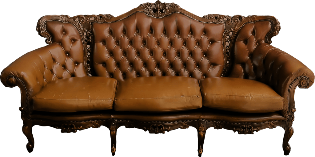 Couch clipart leather sofa. Large vintage transparent png