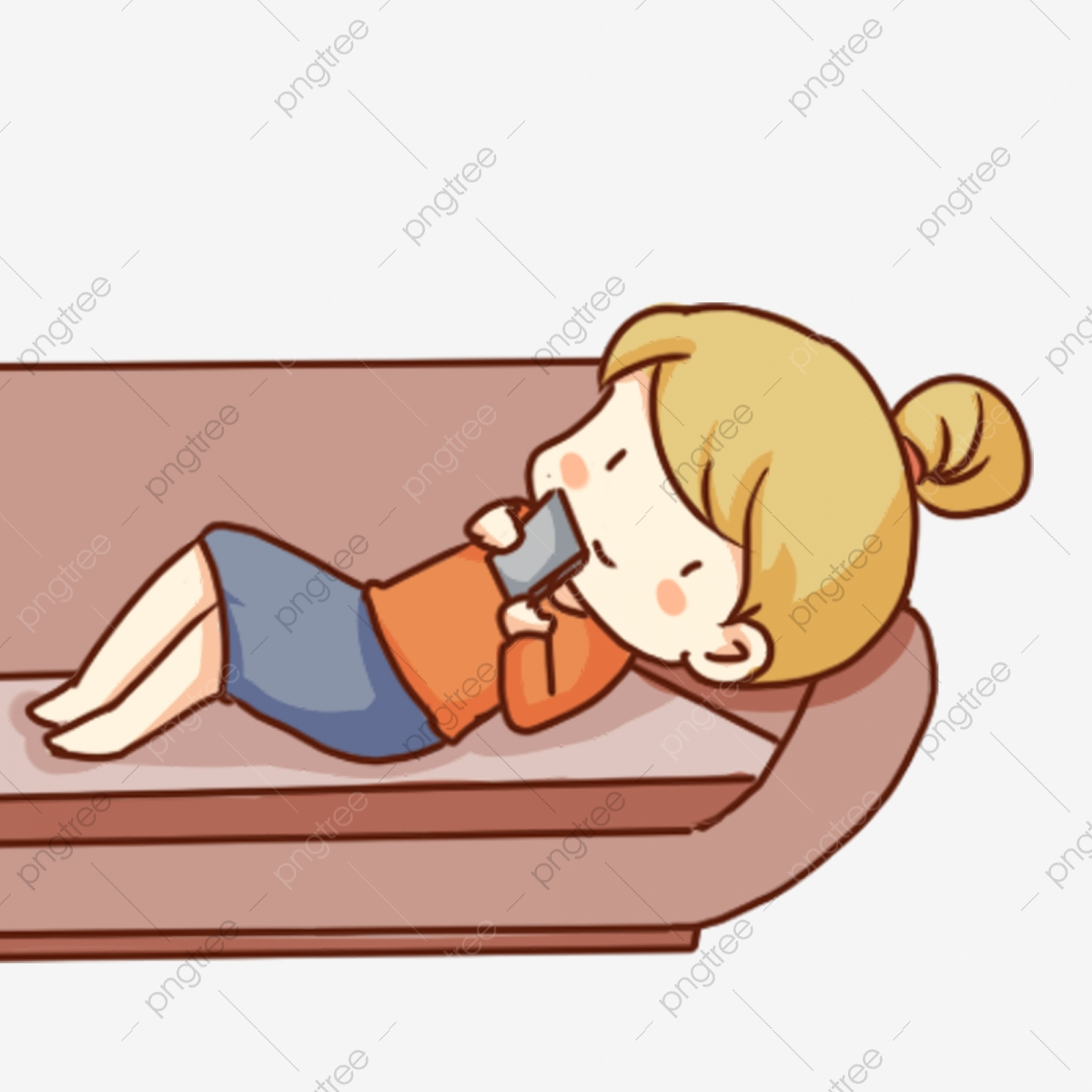 Couch clipart lie on couch. Hand drawn cartoon girl