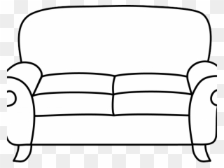 Couch clipart line art. Sofa comfy black and