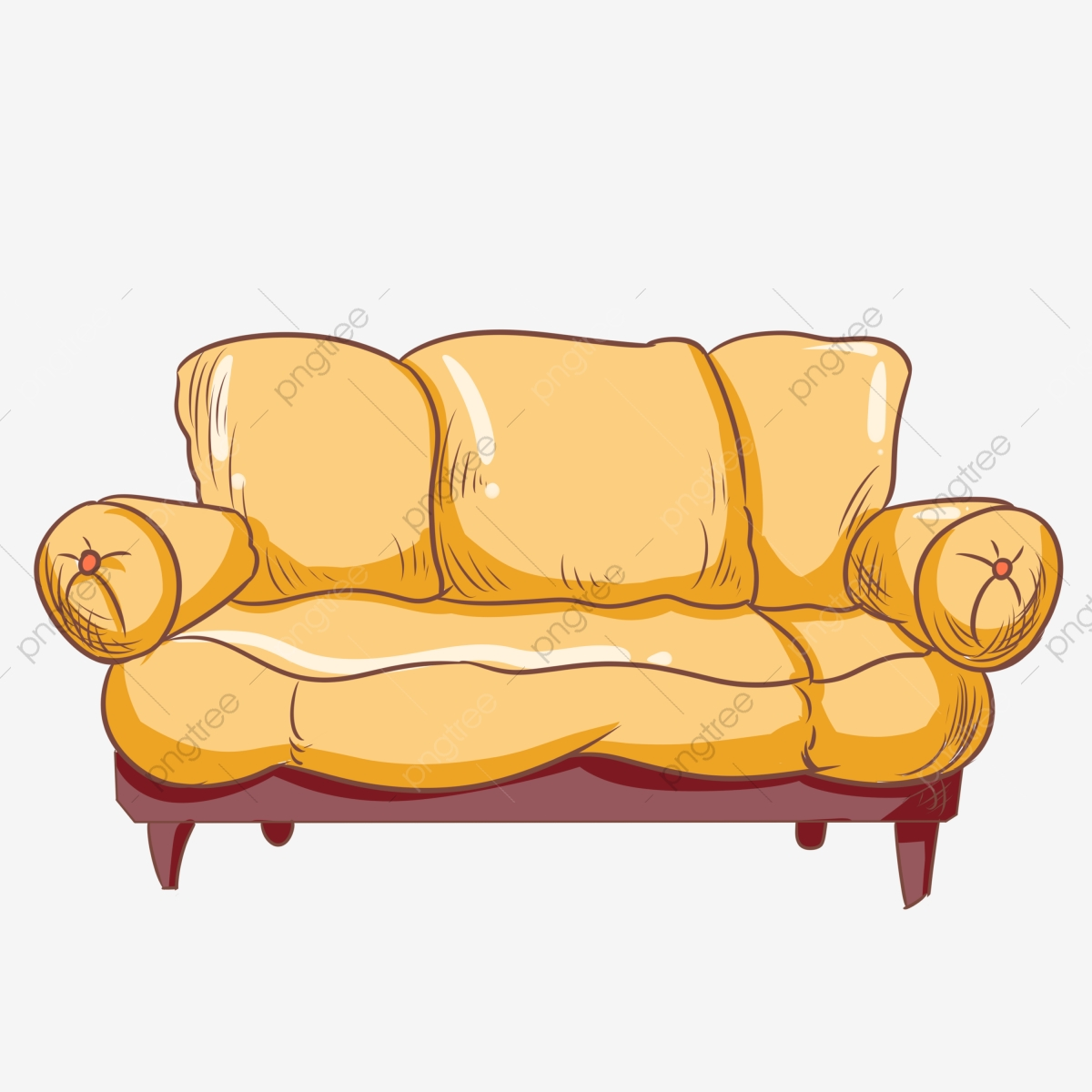 Yellow sofa hand painted. Couch clipart living room furniture