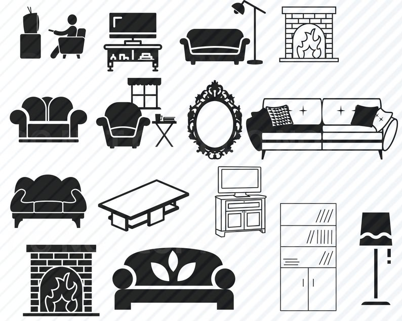 Living room bundle couch. Furniture clipart svg