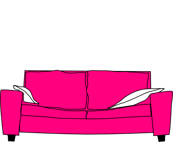 Couch clipart pink couch. With pillows clip art