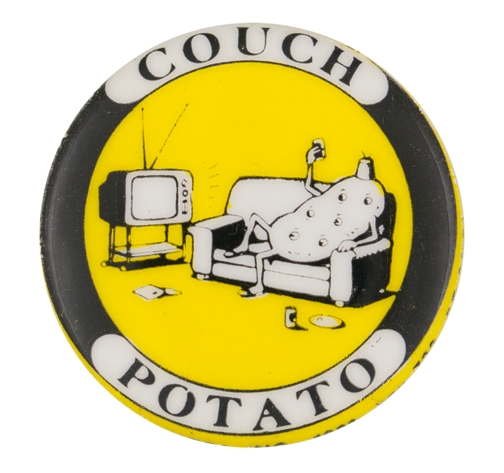Couch clipart potatoe. Potato busy beaver button