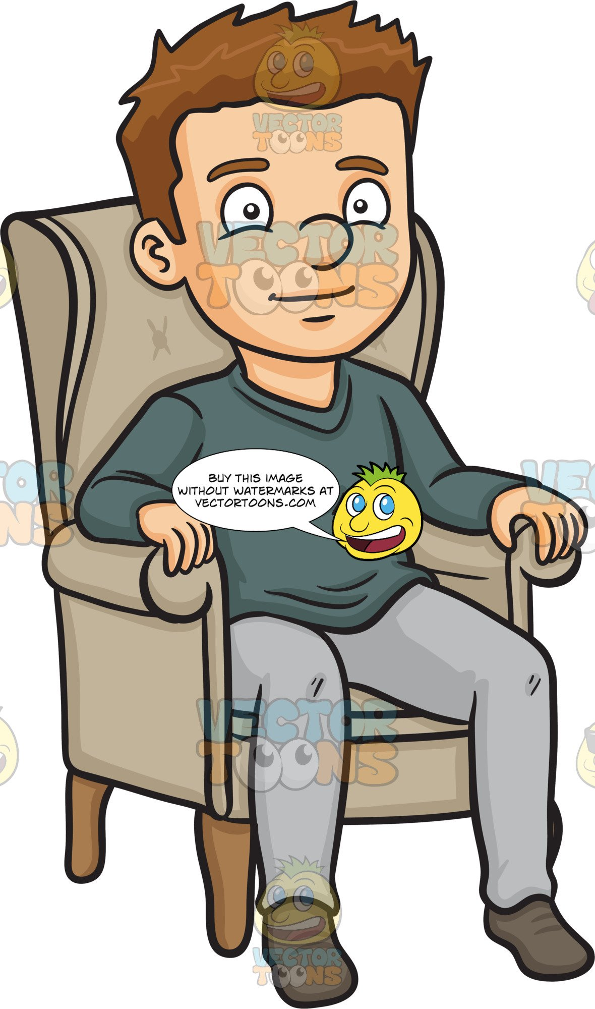 A man relaxing on. Couch clipart single person