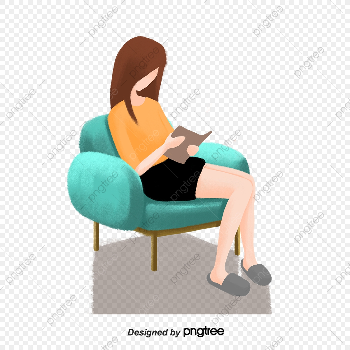 Green sofa home girl. Couch clipart single person