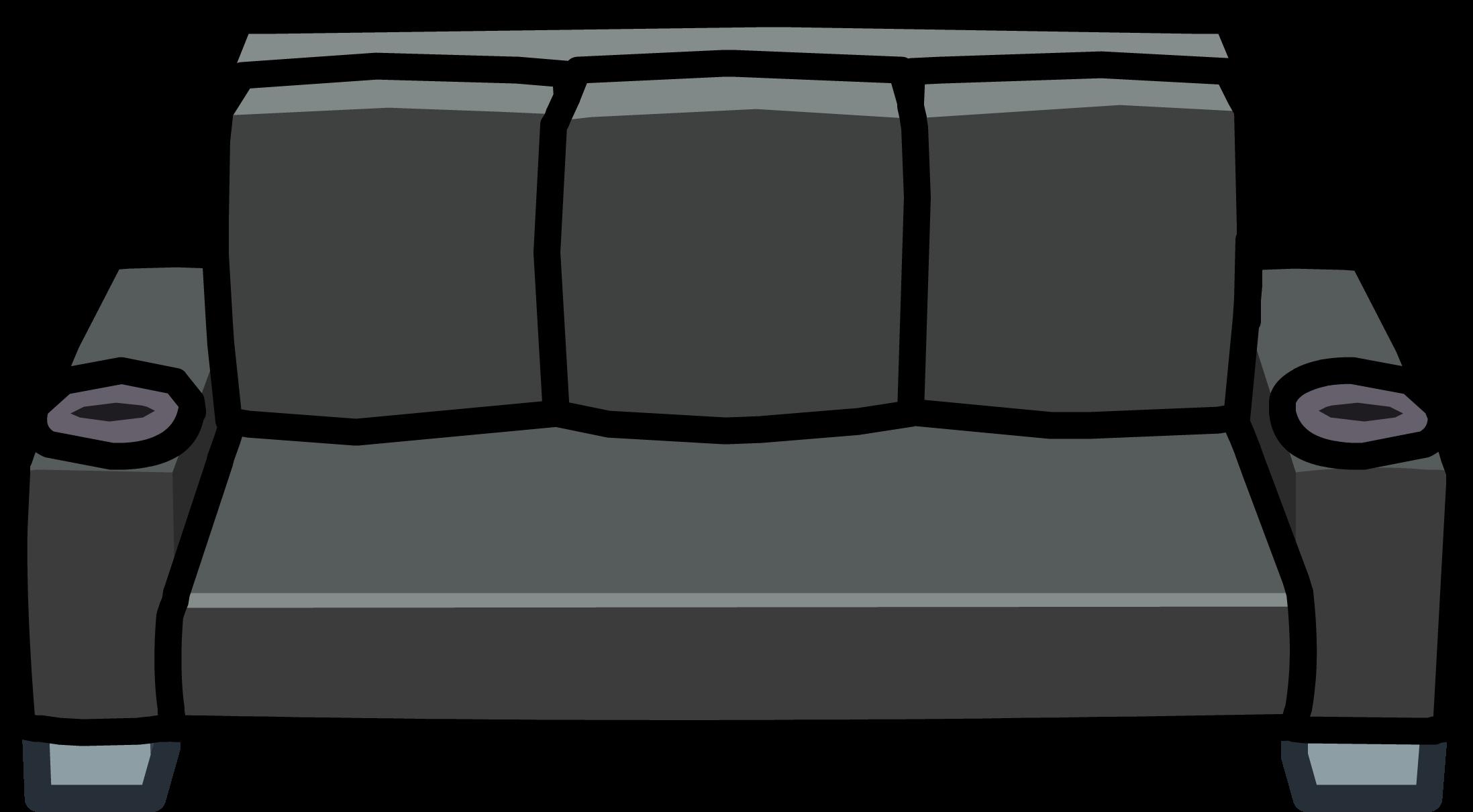 Black designer club penguin. Couch clipart sofa