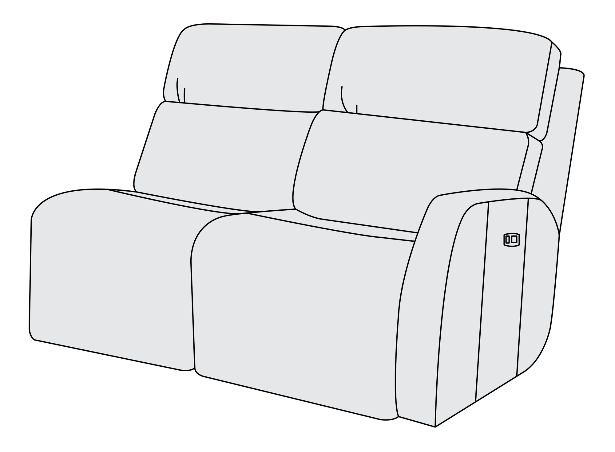 Couch clipart upholstery. Right arm power motion