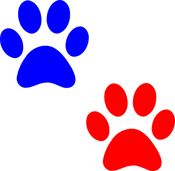 Paw logo blue red. Paws clipart wildcat