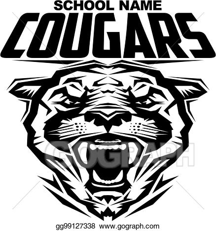 Cougar clipart cool. Vector art cougars drawing