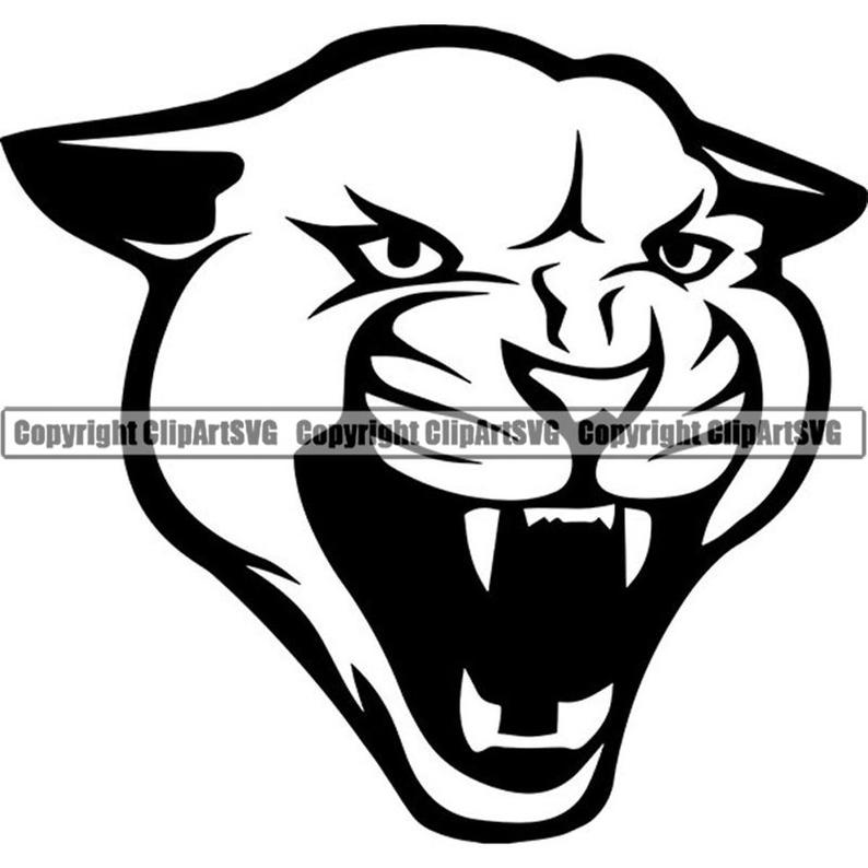 Cougar clipart logo. Mascot head face animal