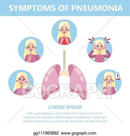 Cough clipart pneumonia patient. Vector art symptoms infographic