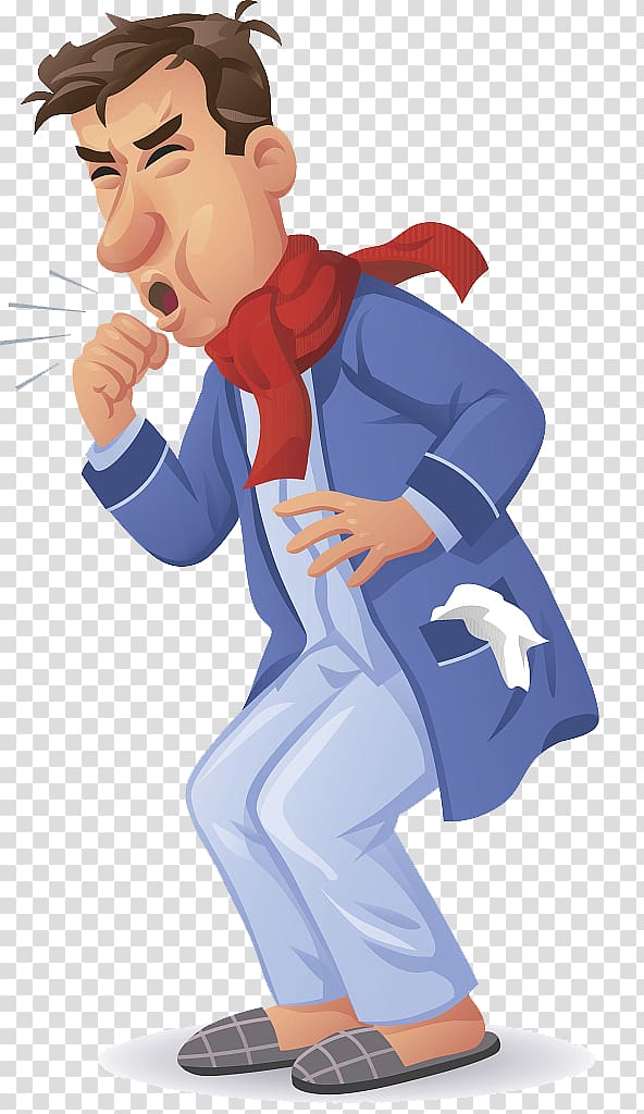 Coughing man wearing red. Cough clipart pneumonia patient