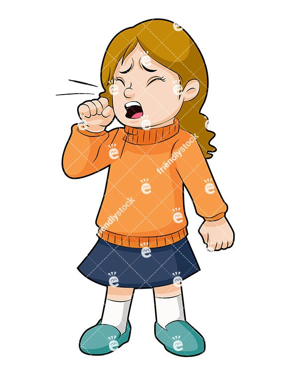 Nervous clipart sick student. A little girl coughing