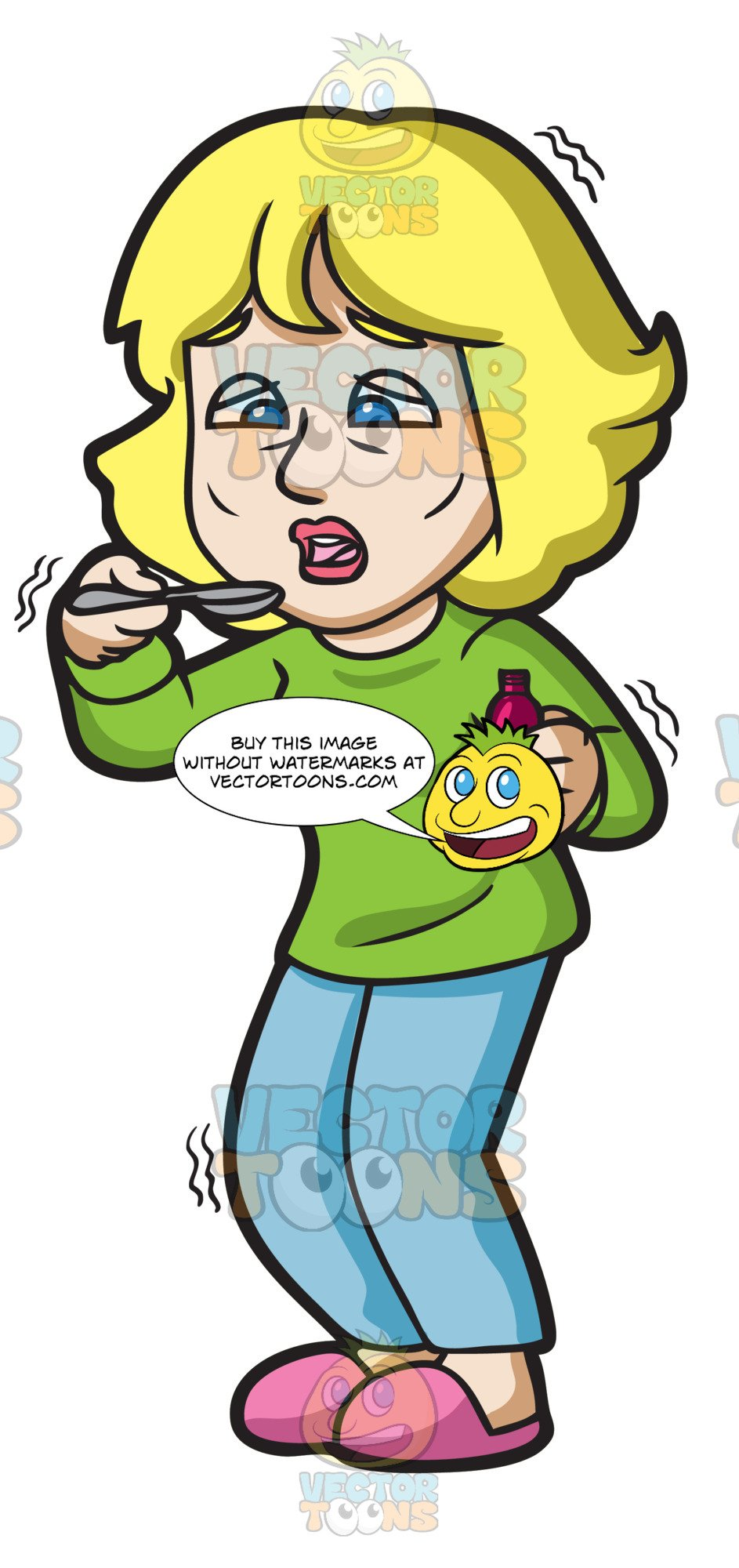 A woman taking . Cough clipart syrup