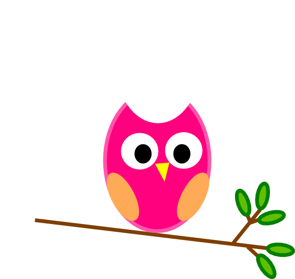 Cute owls pink owl. Counseling clipart cartoon