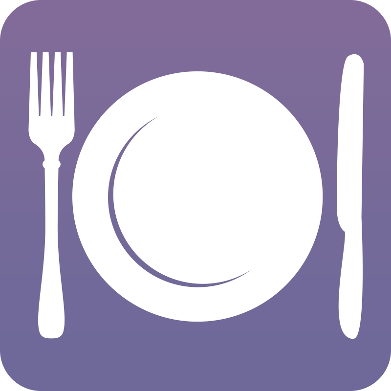 Nutritional counseling for eating. Purple clipart fork