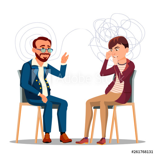 Counseling clipart psychotherapy. Patient at psychiatry cartoon