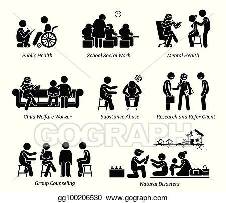 Counseling clipart social work. Eps vector workers stick