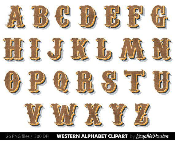Country western digital clip. Steampunk clipart alphabet