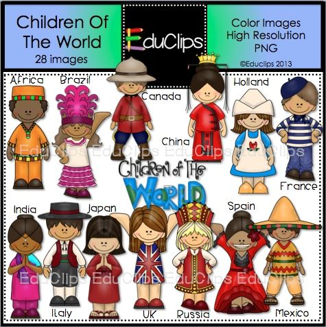 Children of the world. Country clipart classroom
