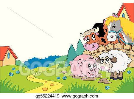 Country clipart country animal. Vector art landscape with