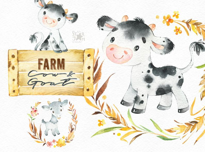 Country clipart country animal. Farm cow goat watercolor