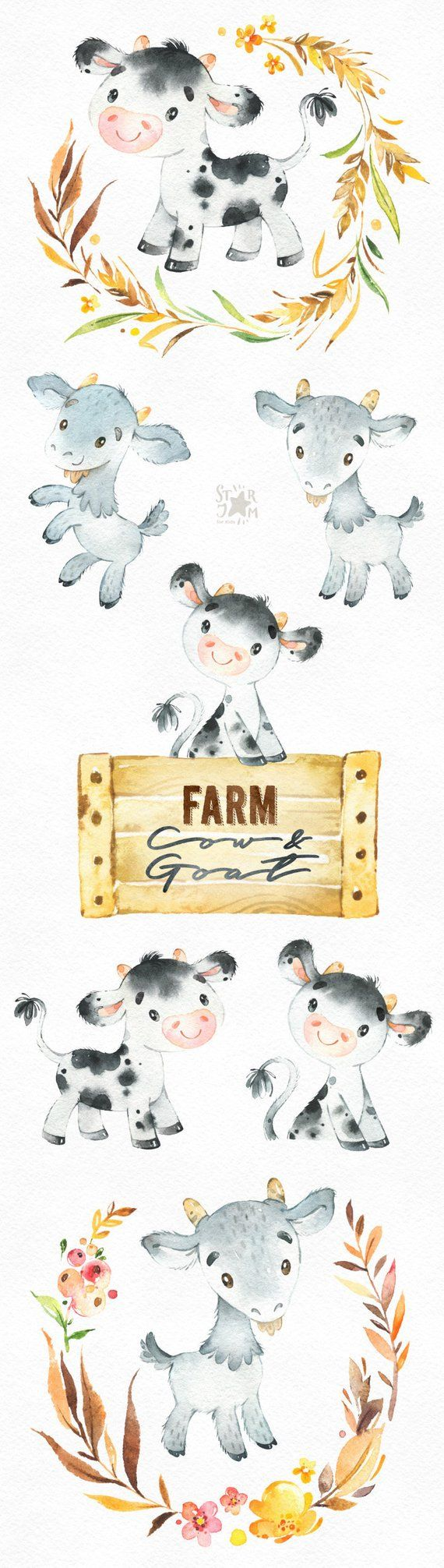 Farm cow goat watercolor. Country clipart country animal