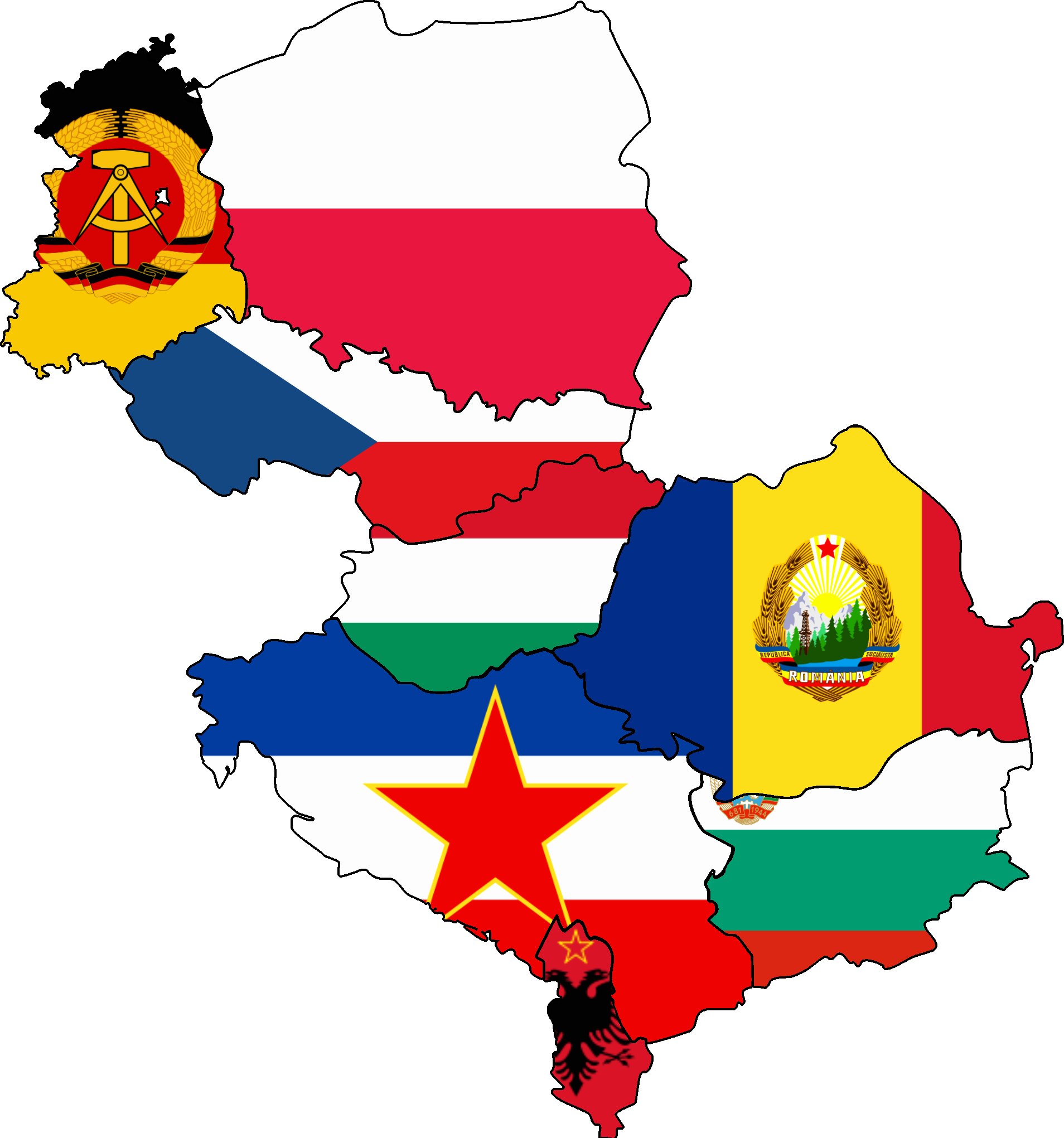 Countries group eastern bloc. Europe clipart colored