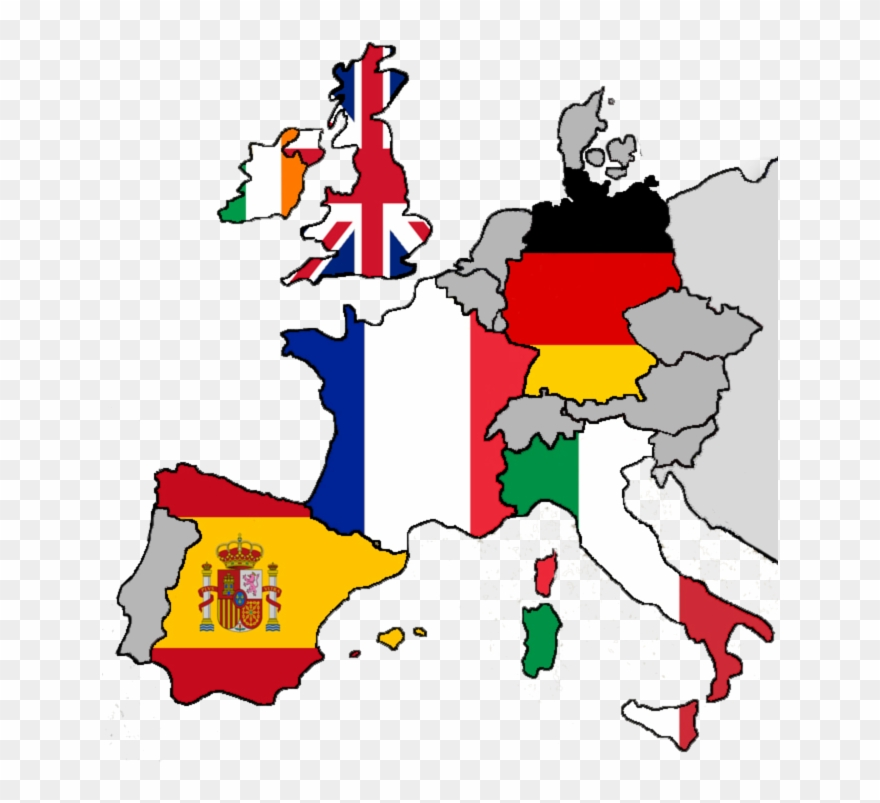 Spain map with flags. Europe clipart country europe