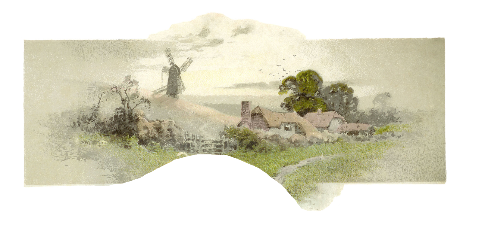 Free countryside digital graphic. Landscape clipart border design