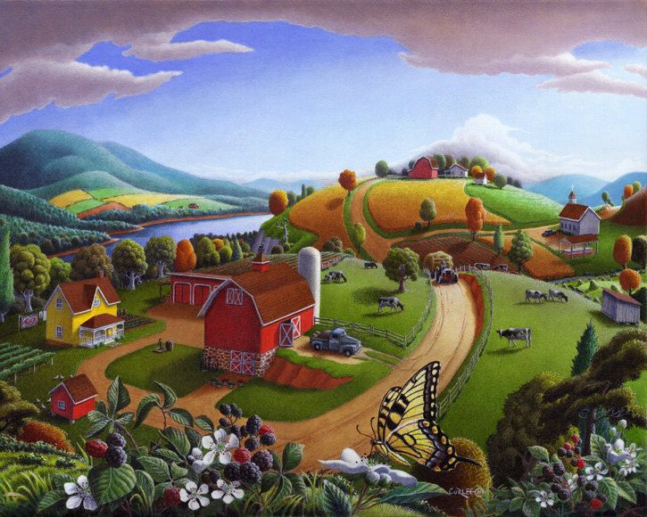 Country clipart country landscape. Original oil painting blackberry