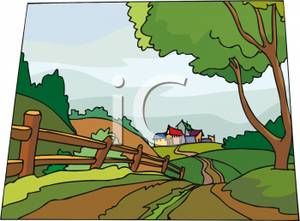 Hill clipart rural road. Winding country leading to