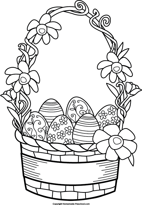 Country clipart easter basket. Clip art black and