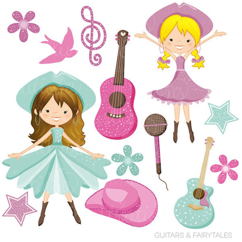 Guitars and fairytales cute. Fairies clipart country