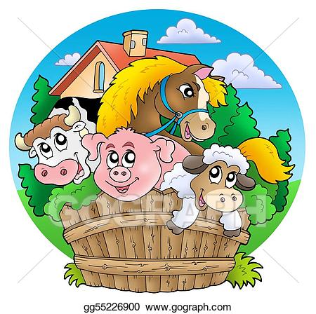 Stock group of animals. Country clipart illustration