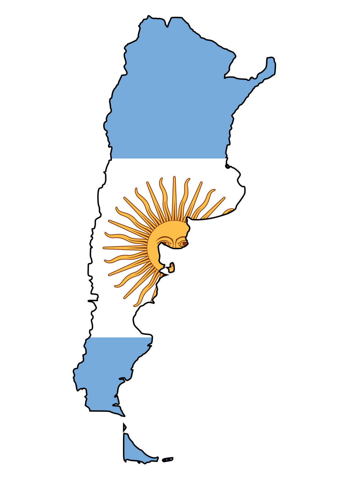 Argentina map free collection. Country clipart illustration